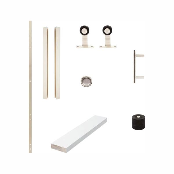 72 in. DesignGlide Satin Nickel Soft-Close Barn Door Sliding Door Hardware Kit