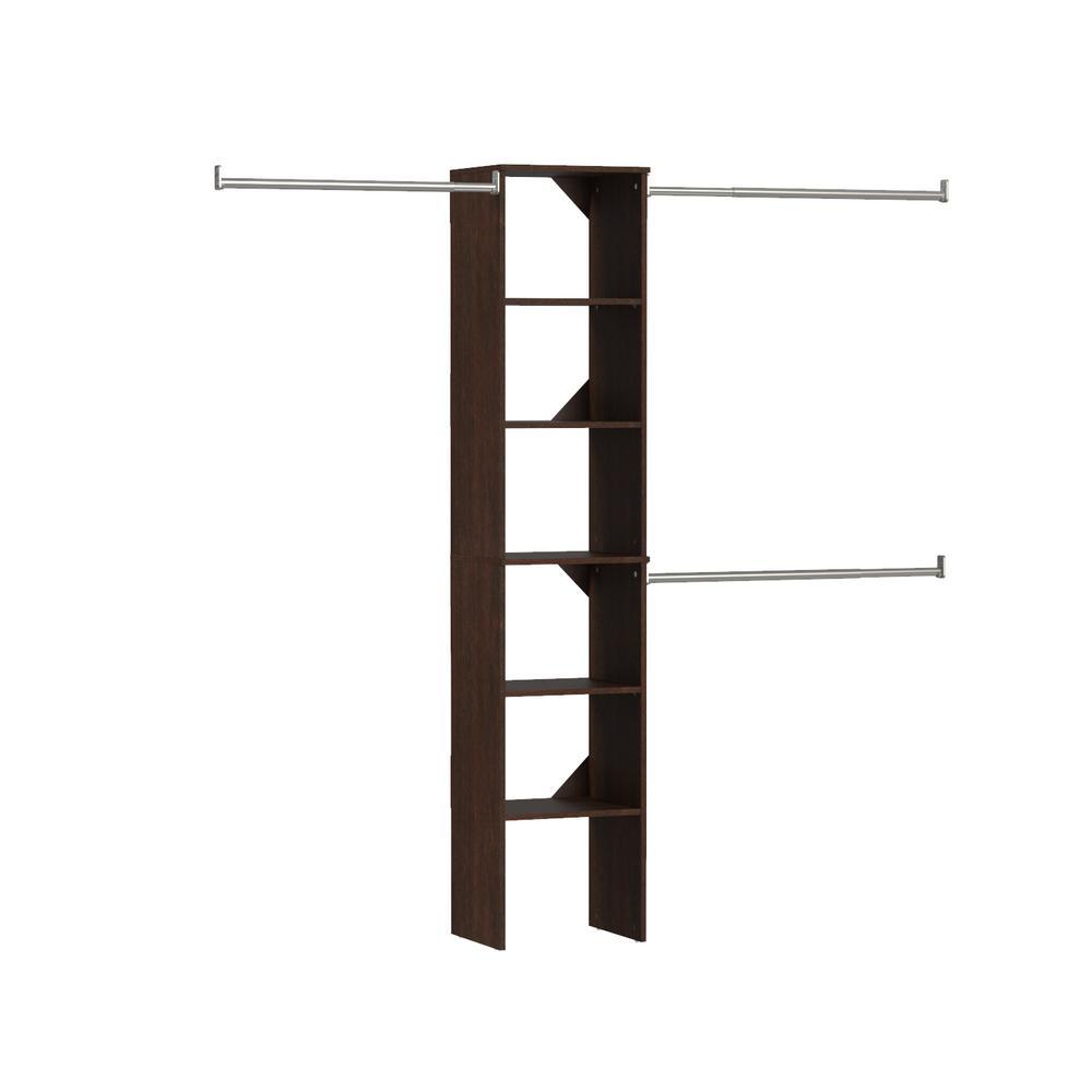 Style+ 14.72 in. D x 113 in. W x 82.46 in. H Modern Walnut Floor Mount 6-Shelf Narrow Wood Closet Kit With Hang Rods