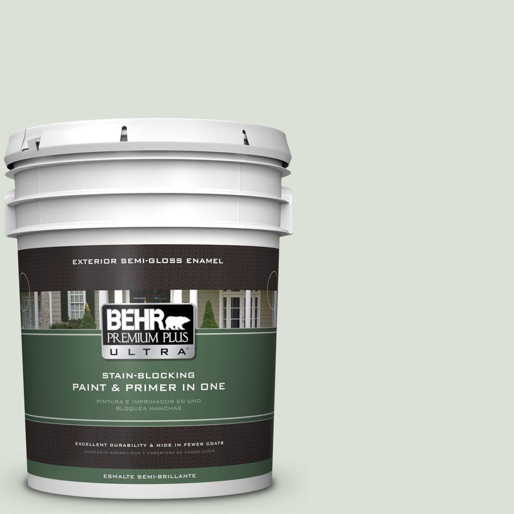 BEHR Premium Plus Ultra 5-gal. #N390-1 Light Mist Semi-Gloss Enamel Exterior Paint