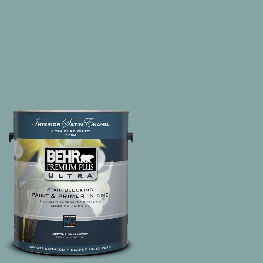BEHR Premium Plus Ultra 1-Gal. #UL220-17 Venus Teal Interior Satin Enamel Paint
