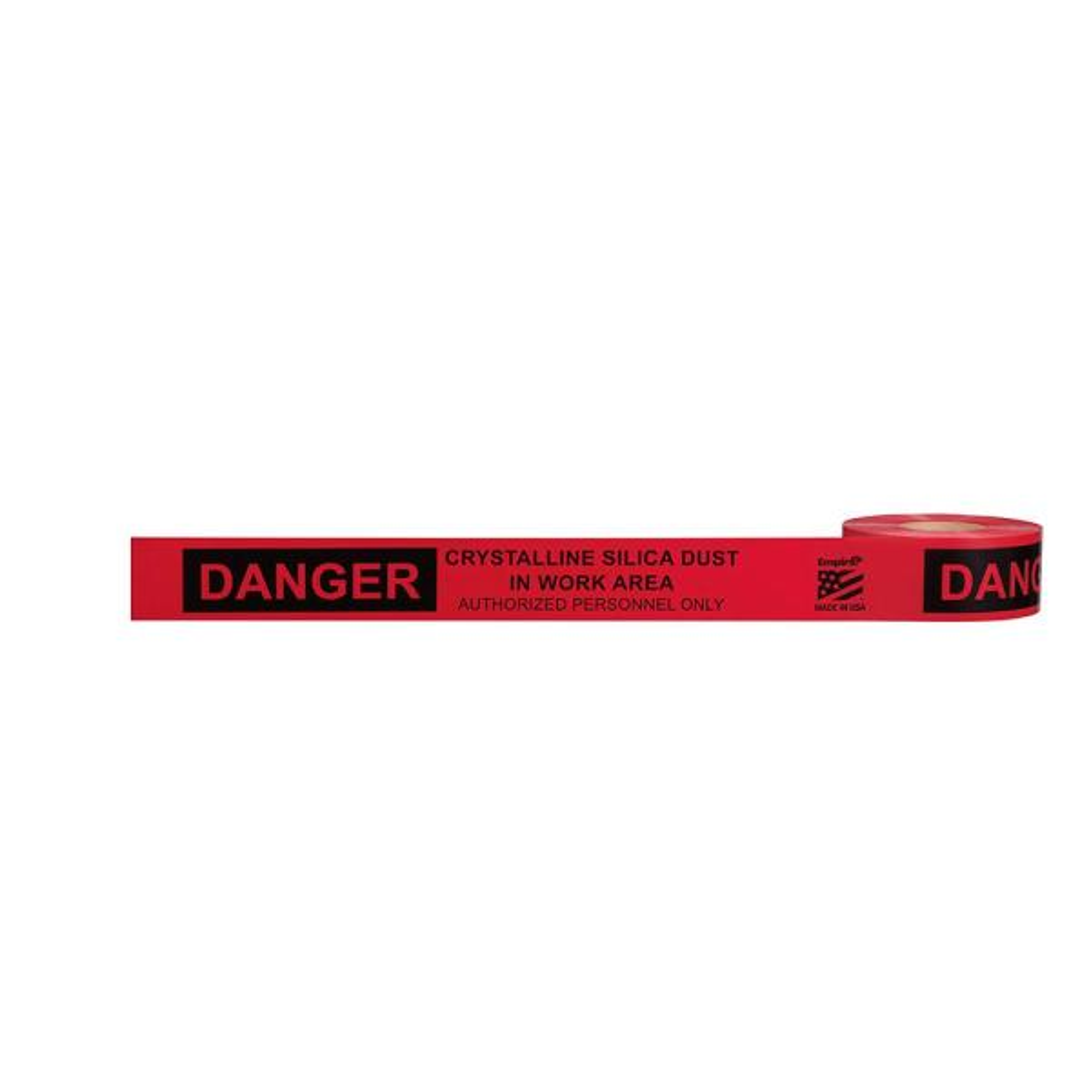 3 in. x 1000 ft. Danger Crystalline Silica Dust Premium Grade Barricade Tape