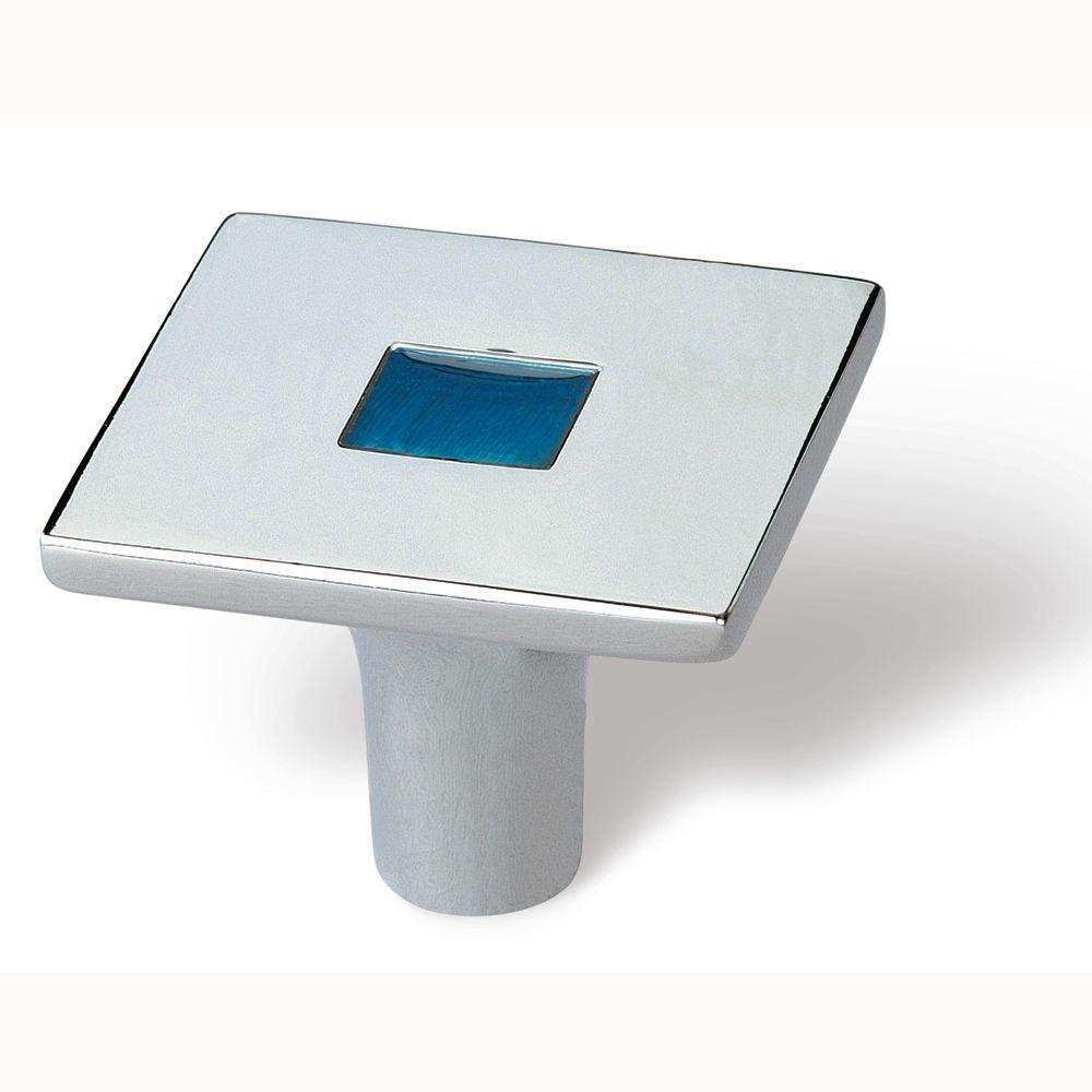 Rio 1-3/8 in. Bright Chrome/Blue Square Cabinet Knob