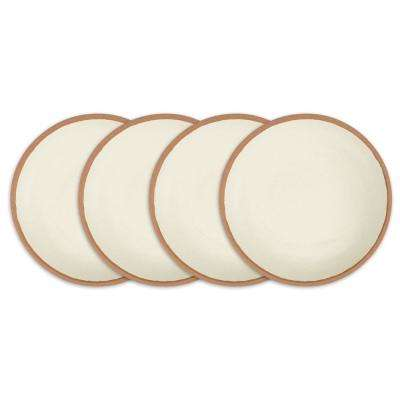 Potter 4-Piece 8 in. Terracotta Brown Melamine Bamboo Salad Plate Set