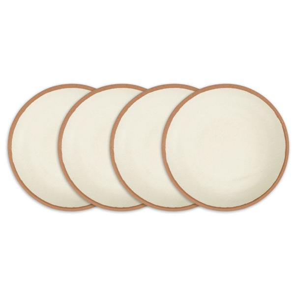Potter 4-Piece 8 in  Terracotta Brown Melamine Bamboo Salad Plate Set