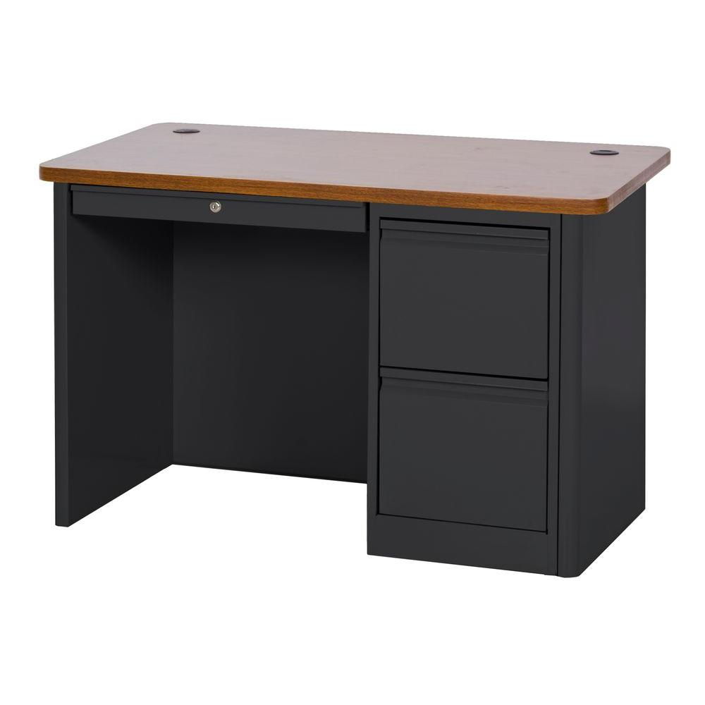 Sandusky 900 Series Single Pedestal Heavy Duty Teachers Desk in Black/Medium Oak