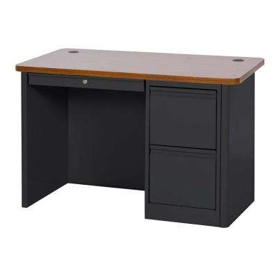 900 Series Single Pedestal Heavy Duty Teachers Desk in Black/Medium Oak