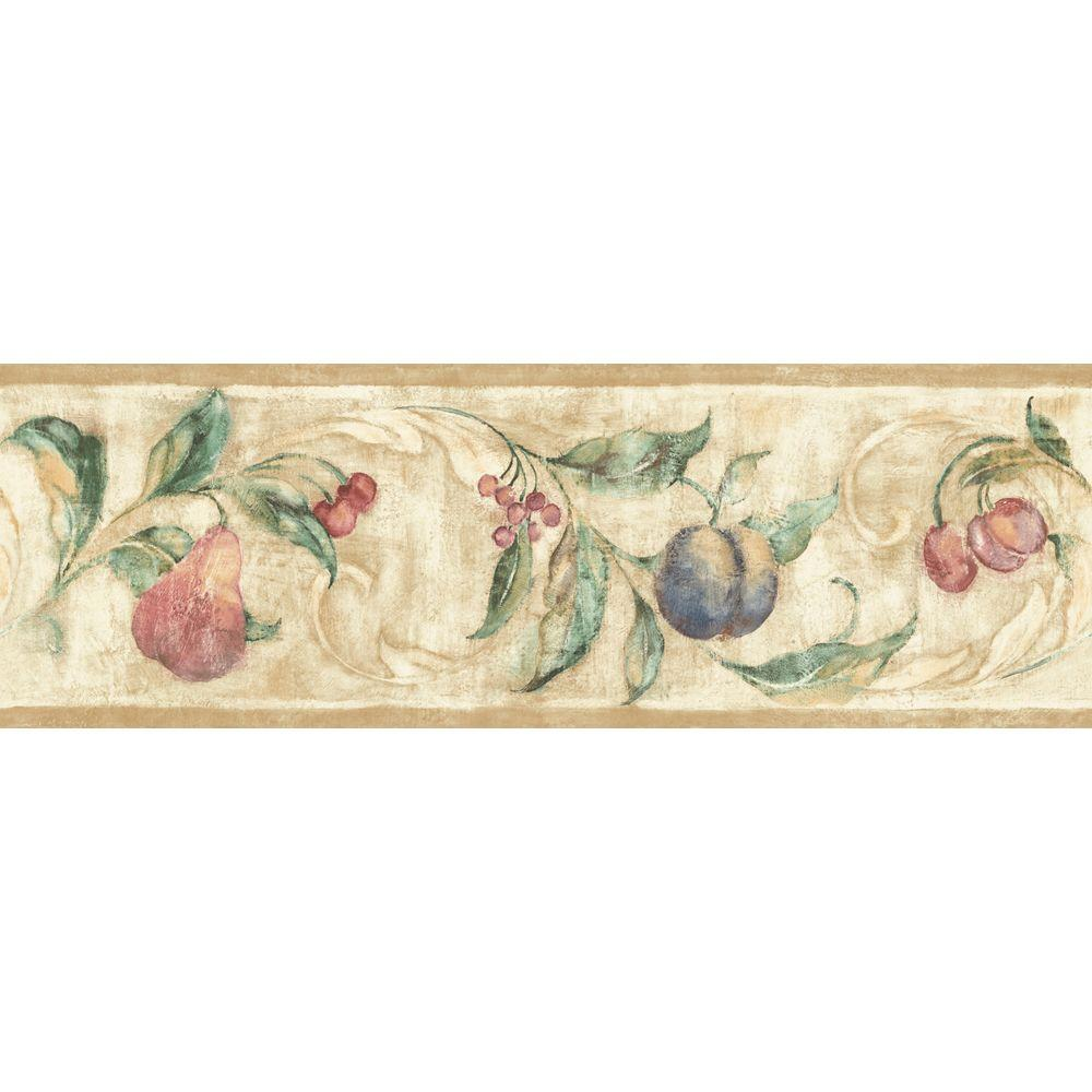 The Wallpaper Company 6.8 in. x 15 ft. Jewel Tone Fruit Scroll Border