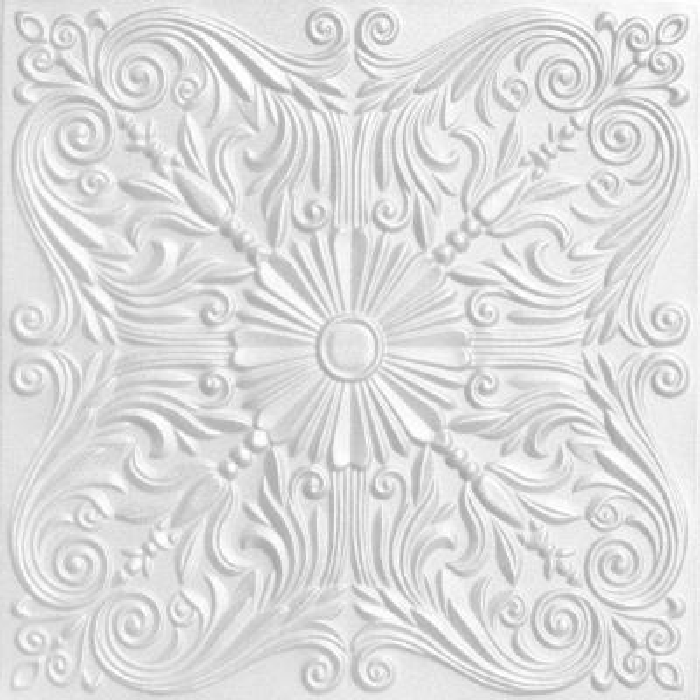 Spanish Silver 1.6 ft. x 1.6 ft. Glue Up Foam Ceiling Tile in Plain White (21.6 sq. ft./case)