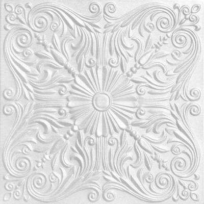 Spanish Silver 1.6 ft. x 1.6 ft. Foam Glue-up Ceiling Tile in Plain White (21.6 sq. ft. / case)