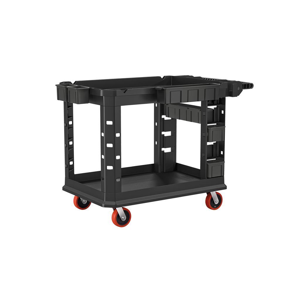 Heavy-Duty 26.5 in. 2-Shelf Utility Cart in Black