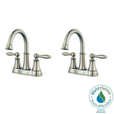 Courant 4 in. Centerset 2-Handle Bathroom Faucet in Brushed Nickel (2-Pack Combo)