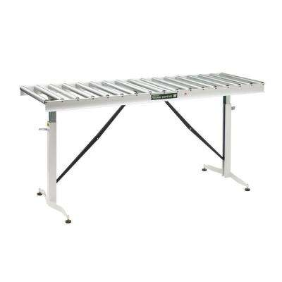 26.5 in. to 43.5 in., 24 in. Wide Roller Table Adjustable Conveyor with 17 Rollers