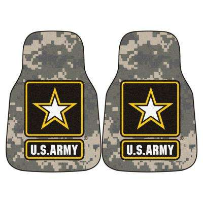 MIL - U.S. Army Grey Heavy Duty 17 in. x 27 in. Nylon Carpet Car Mat (2-Piece)