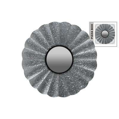 Round Gray Galvanized Wall Mirror