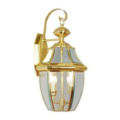 2-Light Bright Brass Outdoor Wall Lantern with Clear Beveled Glass