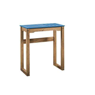 Stillwell 31.5 in. Blue and Natural Wood Bar Table
