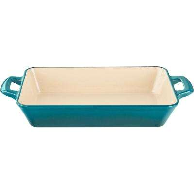 Small Deep Cast Iron Roasting Pan with Enamel in High Gloss Teal