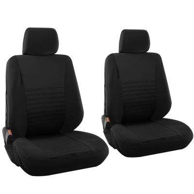 Polyester Seat Covers Set 26 in. L x 21 in. W x 48 in. H 6-Piece Seat Cover Set Wide Stripe Solid Black