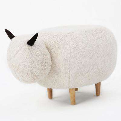 Pearcy White Furry Sheep Ottoman Bench