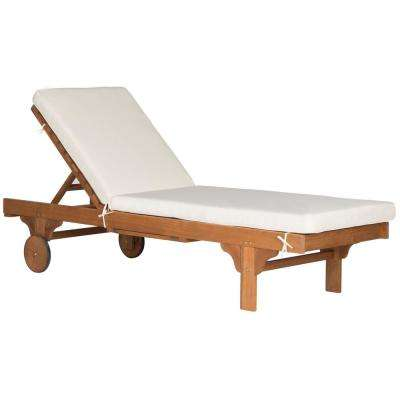 Newport Natural Brown Adjustable Wood Outdoor Lounge Chair with Beige Cushion