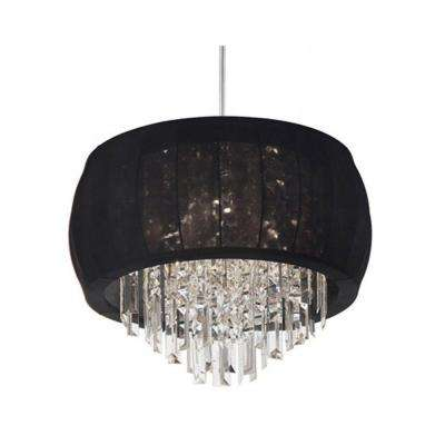 Catherine 4 Light Halogen Polished Chrome Chandelier with Black Fabric Shades