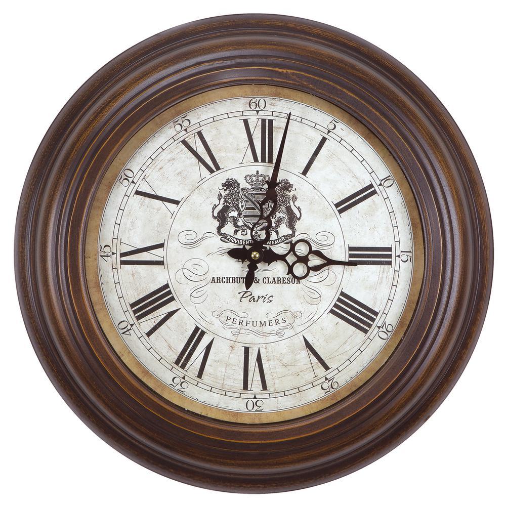 Yosemite Home Decor 17 in. Circular Iron Wall Clock in Distressed Brown Frame