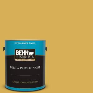 Behr Premium Plus 1 Gal 370d 6 Golden Cricket Satin Enamel Exterior Paint And Primer In One 934001 The Home Depot