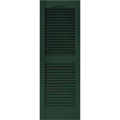 15 in. x 43 in. Louvered Vinyl Exterior Shutters Pair in #122 Midnight Green