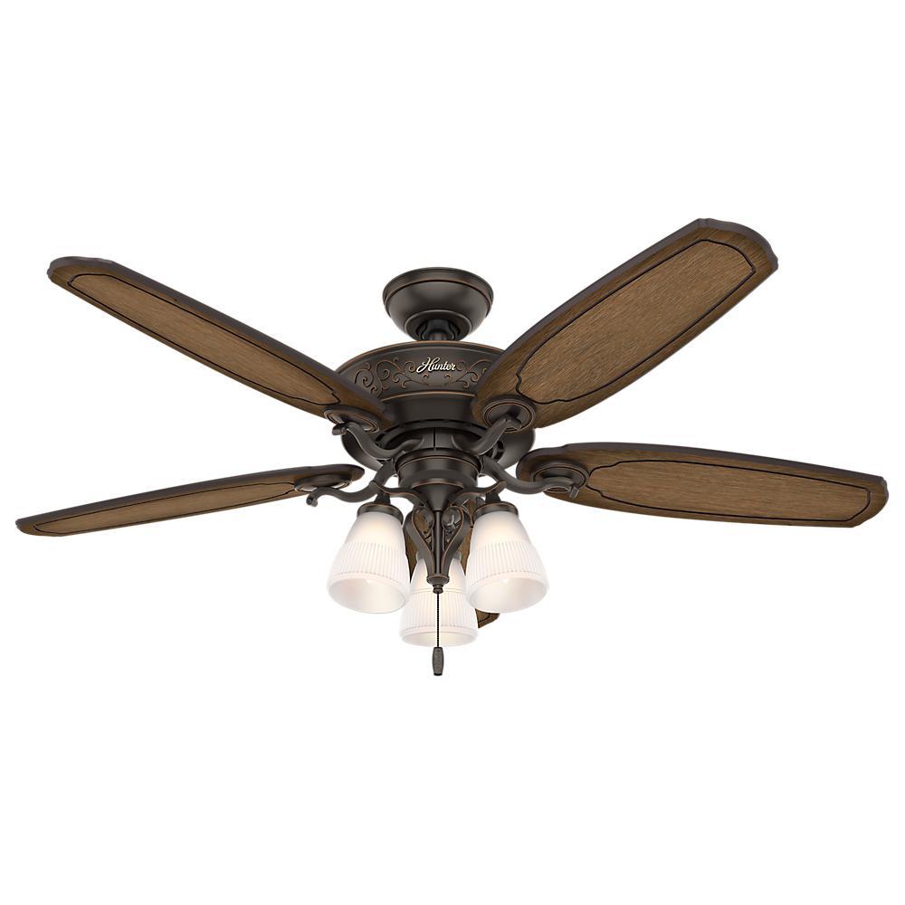 Hunter Osbourne 54 In Led Indoor Onyx Bengal Ceiling Fan