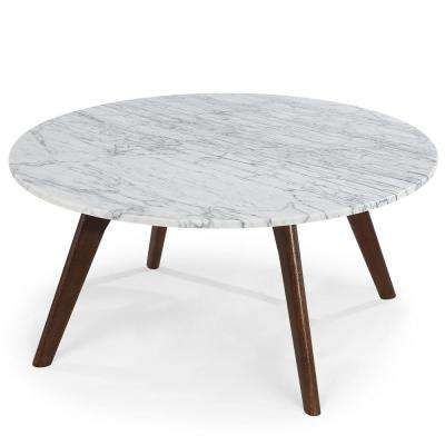 Riley Marble Round Coffee Table in Walnut