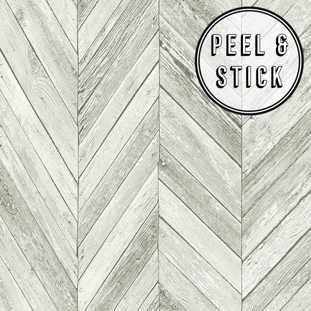 Transform Herringbone Wood Light Grey Vinyl Peelable Roll (Covers 30.75 sq. ft.)