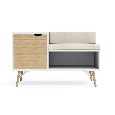 Blythe White with Natural Wood Sectional Bench