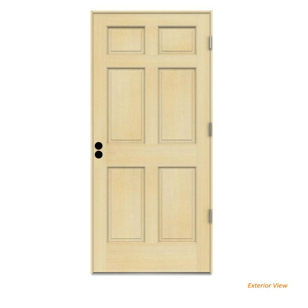 32 in. x 80 in. 6-Panel Unfinished Wood Prehung Left-Hand Outswing