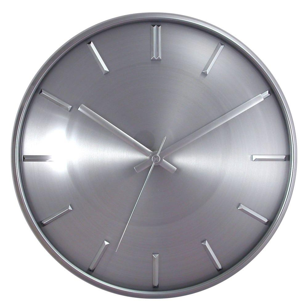 Timekeeper Products 11 in. Round Silver Frame Silver Dial Silver Slash Marks Wall Clock-DISCONTINUED