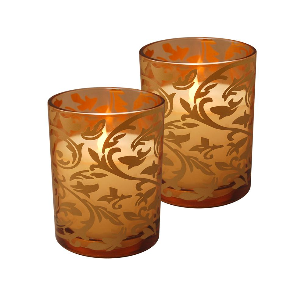 4 in. Glass Jaquard LED Candle (2-Count)