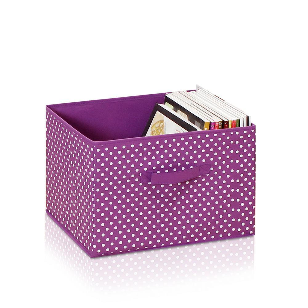 Laci Small Dot Purple Fabric Soft Storage Organizer