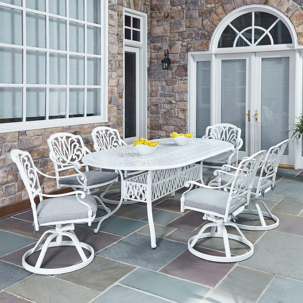 white chairs sets outdoor furniture for small spaces | Home Styles Floral Blossom White 7-Piece All-Weather Patio ...