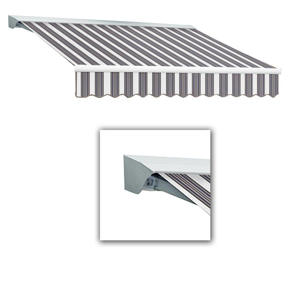 AWNTECH 12 ft. Destin-LX Manual Retractable Acrylic Awning with Hood (120 in. Projection) in Navy/Gray/White