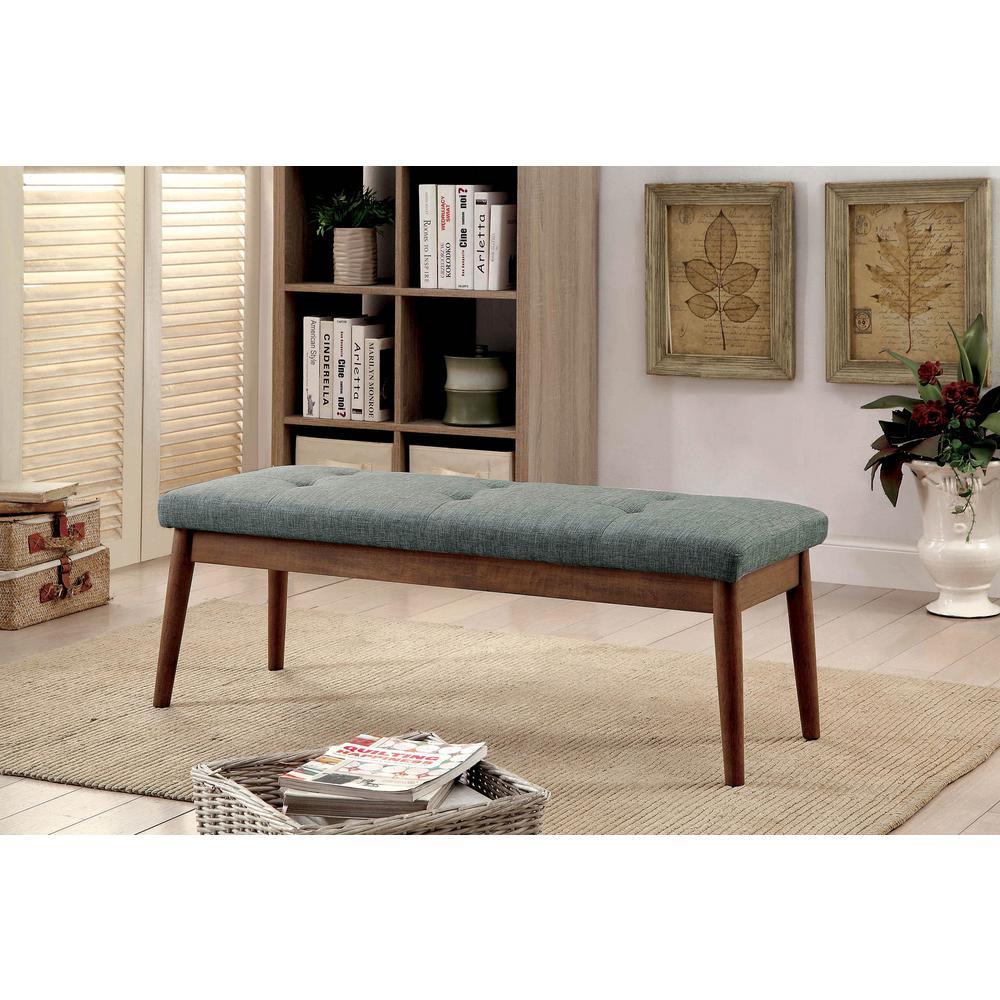 Linnen Gray Mid-Century Modern Style Bench