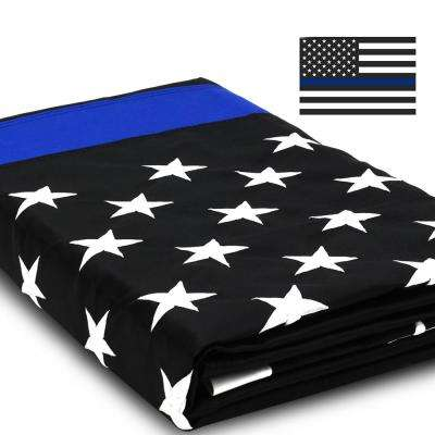 EverStrong 3 ft. x 5 ft. Thin Blue USA Flags Line Heavy-Duty Nylon Embroidered Stars Sewn Stripes with Brass Grommets