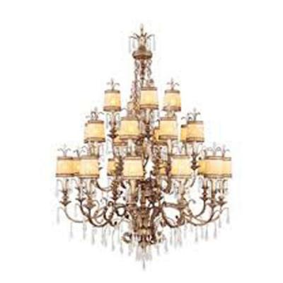 22-Light Vintage Gold Leaf Incandescent Ceiling Chandelier