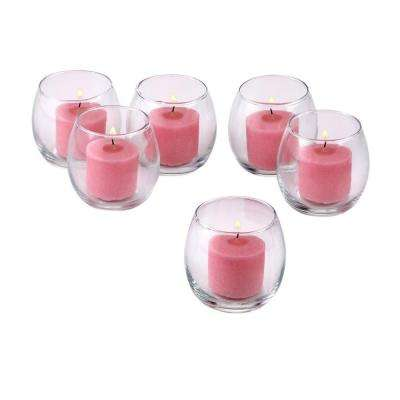 Clear Glass Hurricane Votive Candle Holders with Soft Pink Votive Candles (Set of 12)
