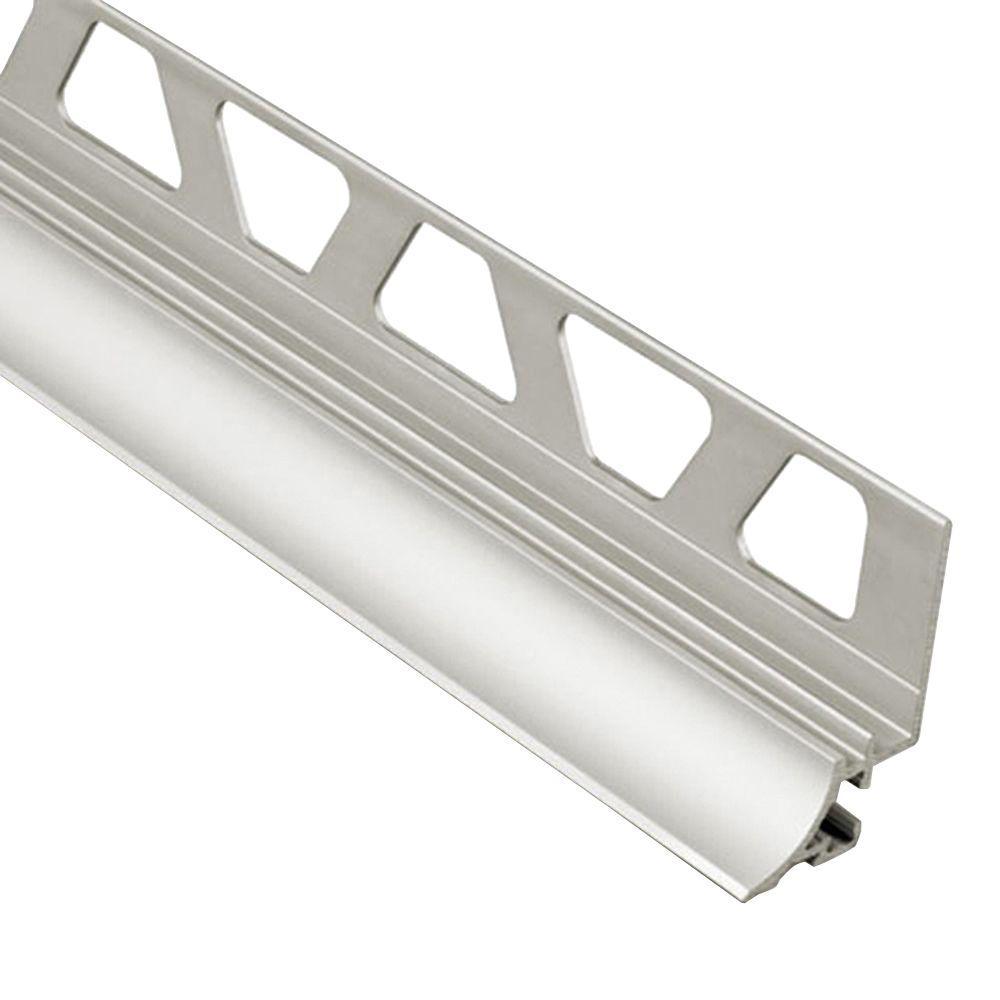 Dilex-AHKA Satin Nickel Anodized Aluminum 1/2 in. x 8 ft. 2-1/2 in. Metal Cove-Shaped Tile Edging Trim