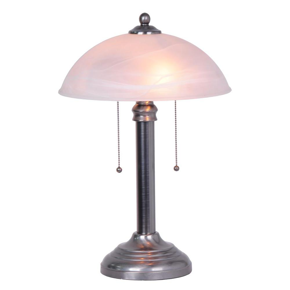 Superbe Brushed Steel Dual Switch Table Lamp With Frosted Glass Shade