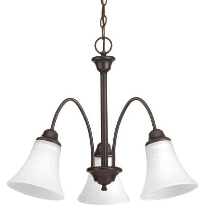 Tally Collection 3-Light Antique Bronze Chandelier with Linen-Finished Glass Shade