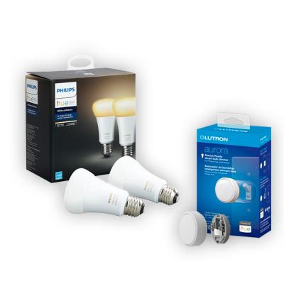Philips Hue White Ambiance A19 LED 60W Equivalent Dimmable LED Smart Bulb (2-Pack) and Lutron Aurora Smart Bulb Dimmer