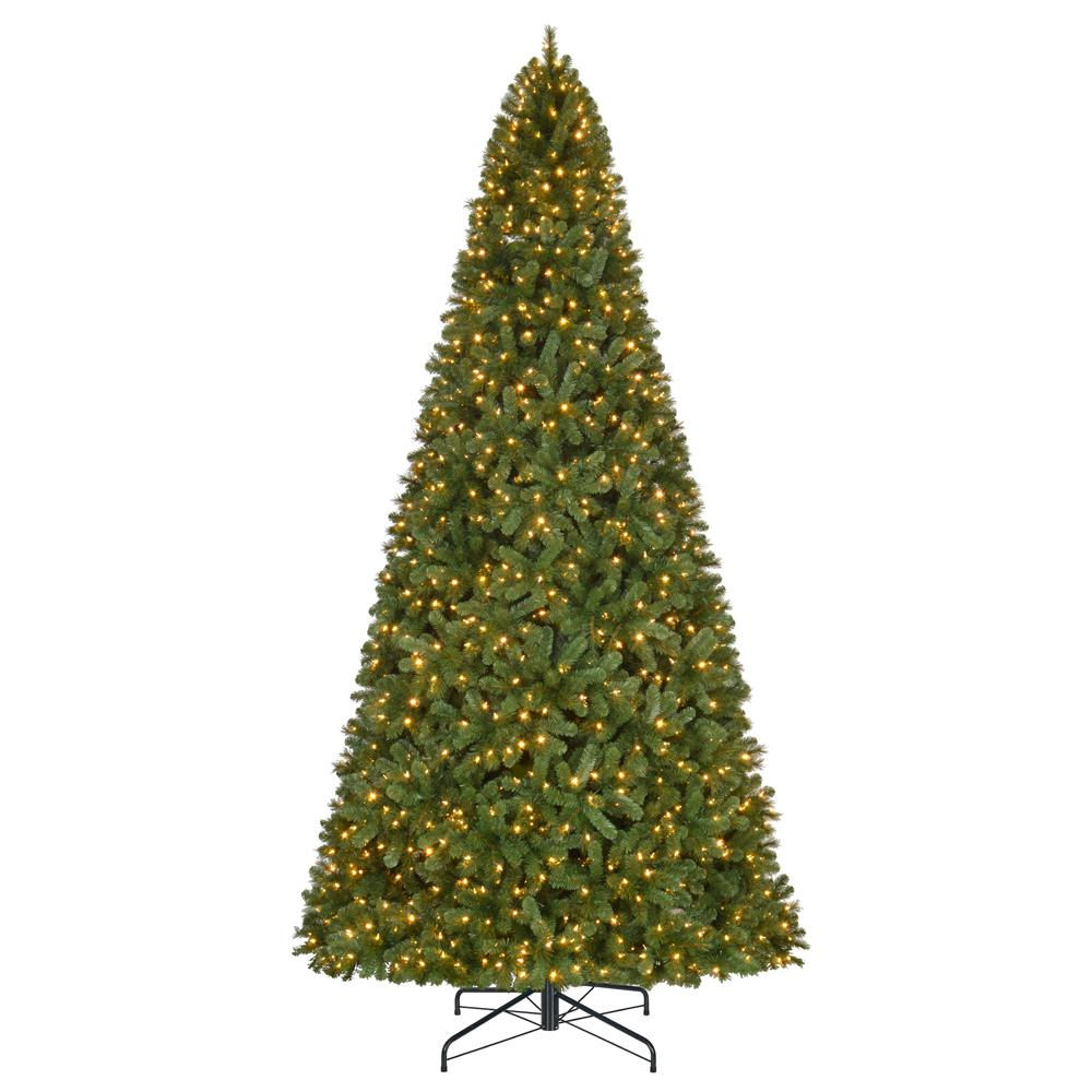 Home Accents Holiday 12 ft. Pre-Lit LED Wesley Spruce Artificial ...