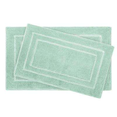 Pearl Double Border Sea Foam 2-Piece Bath Mat Set