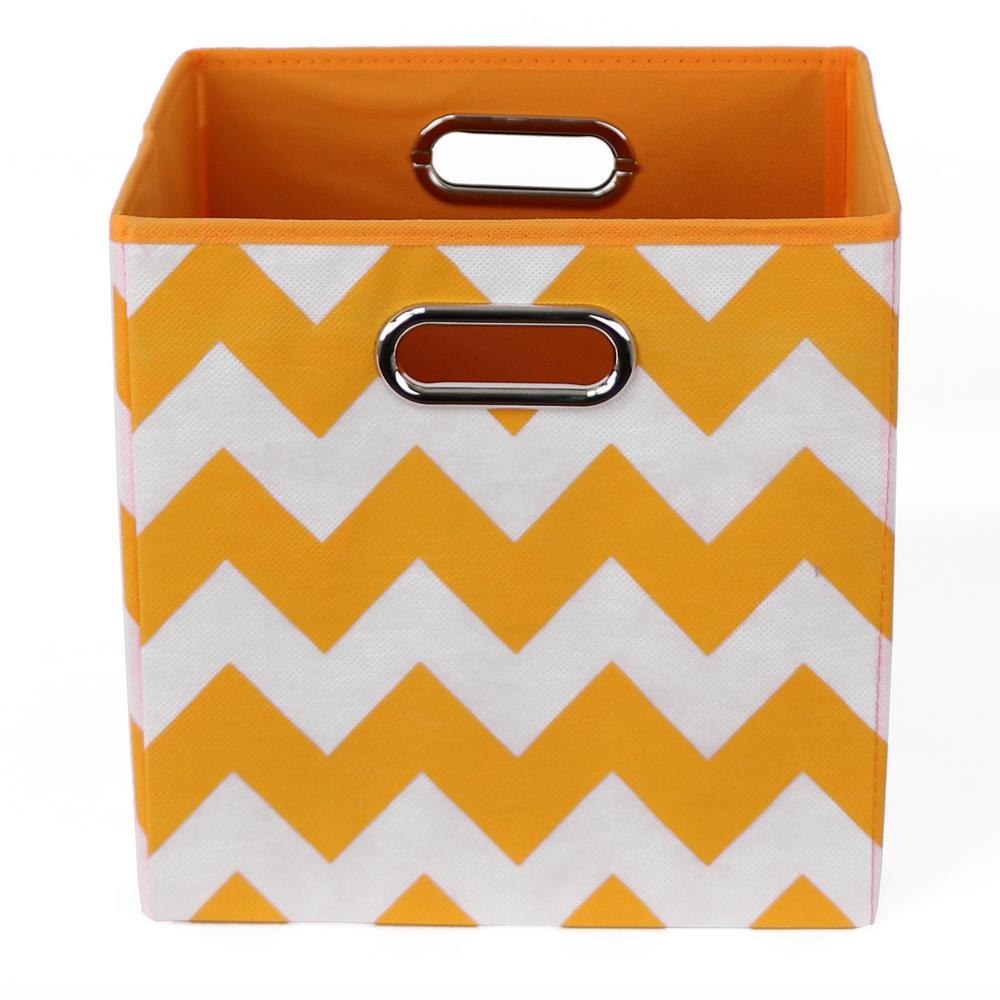 Bold 10.5 in. x 10.5 in. x 10.5 in. Chevron Folding Orange Fabric Storage Bin