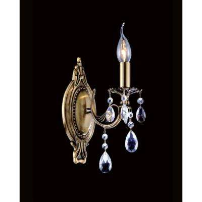 Brass 1-Light Antique Brass Sconce
